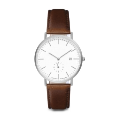 Metal Casual Round Dial Quartz Wrist Watch with Brown Leather Band