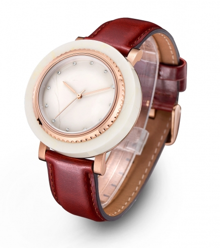Brown Leather Real Marble Wrist Watch Branded