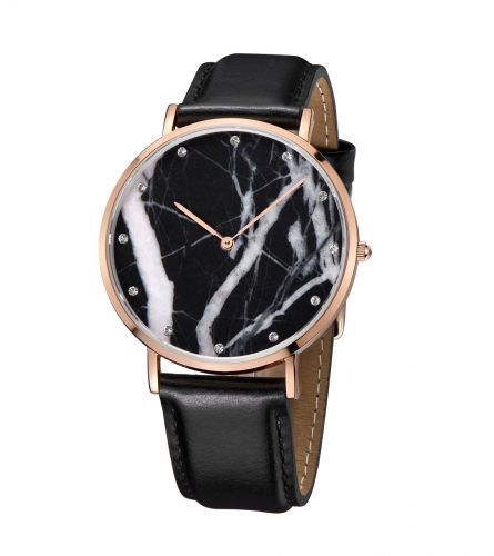 Rose Gold PVD Plating Real Marble Genuine Leather Watch