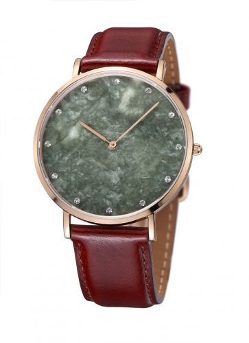Brown Leather Green Marble Crystal Men Watch