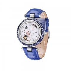 Women's Quartz Analog Leather Strap Watch with Date Feature