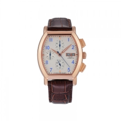 Men's Quartz Watch with Brown Leather Chronograph Date Display Analog Wrist Watches