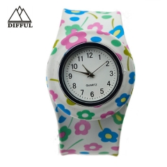 slap watch within anmial shape colorful  pattern watch silicon material watch alloy case