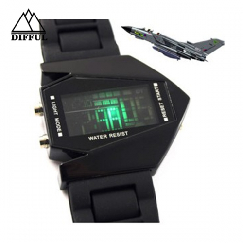 Aircraft LED watch silicon material digital display different color strap hot sale with high quality