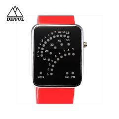 LED watch silicon material suqare shape digital display different color watch