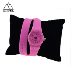 long strap siliocn watch with digital display circle dial face in different color specilal design