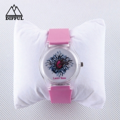 silicon material strap siliocn watch with digital display circle dial face in different color specilal design pattern