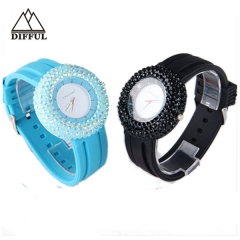 silicon material with diamond watch luxury unisex watch colorful  soft strap watch