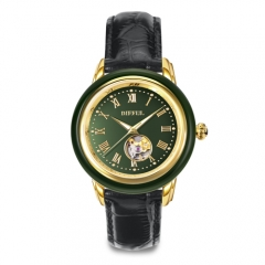 Custom OEM genuine leather mechanical jade watch