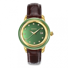 OEM Original swiss  Mechanical Movement genuine leather  Jade Watch
