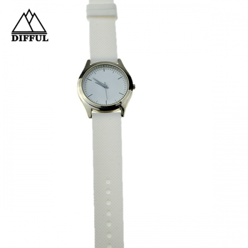 alloy case watch silicon material strap watch white color strap with high quality hot sale watch
