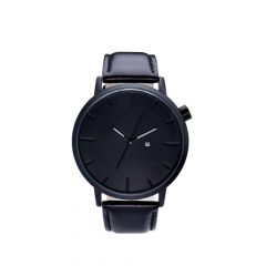 black dial genuine leather luxury man wrist watch