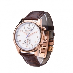 Fashionable business man genuine leather wrist watch